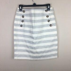 Loft nautical striped pencil skirt
